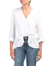 Split Neck Round Hem Blouse