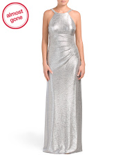 Metallic Gown With Studded Strap