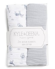 Baby Boys 2pk Jungle Muslin Blankets