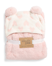 Baby Girl Foil Hear Blanket With Pom Pom