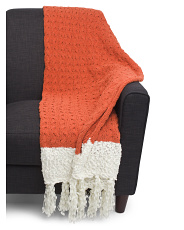 Border Knit Fall Throw