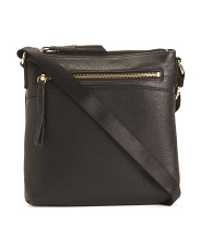 Leather Crossbody With Zipper Front Pocket