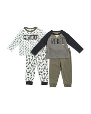 Infant Boys 4pc Long Sleeve Rebel Tee And Joggers Set