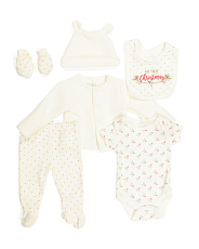 Newborn Girls 6pc 1st Christmas Quilted Cardigan Set