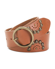Made In Italy Floral Studded Leather Belt