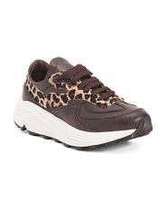 Made In Italy Leather And Haircalf Leopard Fashion Sneakers