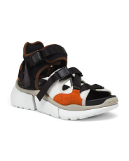Made In Italy Wide Leather Sport Sandals