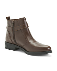 Made In Spain Leather Booties With Buckle