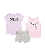 Big Girls 3pc Active Biker Short Set