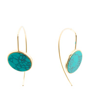 Made In India Sterling Silver Turquoise Disk Earrings