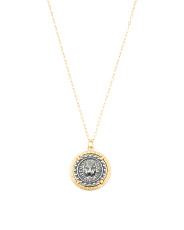 Made In India Sterling Silver 2 Tone Greek Coin Necklace