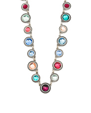 Silver Tone Multi Colored Glass Crystal Frontal Necklace