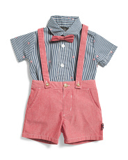 Infant Boys 3pc Chambray Shortall Set