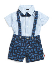 Infant Boys 3pc Twill Shortall Set