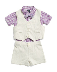 Infant Boys 4pc Vest And Short Set