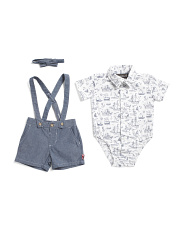 Newborn Boys 3pc Chambray Shortall Set