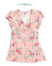 Big Girls Floral Top With Necklace