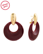 22k Gold Plated Retro Resin Front Hoop Earrings