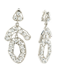 22k Rhodium Plated Organic Shaped Glass Crystal Earring