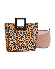 2pc Haircalf And Leather Leopard Tote