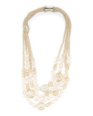 4 Strand Freshwater Pearl With Crystals Necklace