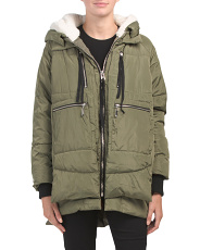 Juniors Long Hooded Puffer Jacket