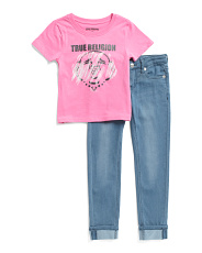 Little Girls 2pc Tee And Roll Cuff Jeans Set