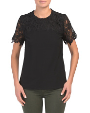 Short Sleeve Lace Detail Top