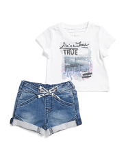 Baby Girls 2pc Graphic Tee Short Set