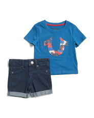 Infant Boys Camo Tee And Denim Short Set