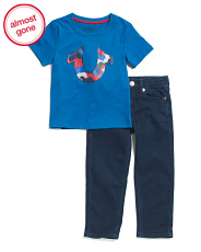 Infant Boys Camo Tee And Denim Jeans Set