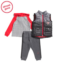 Toddler Boys 3pc Puffer Vest And Fleece Joggers Set