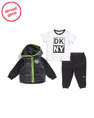 Infant Boys 3pc Puffer Jacket And Fleece Joggers Set
