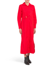 Made In Italy Cotton Maxi Shirt Dress