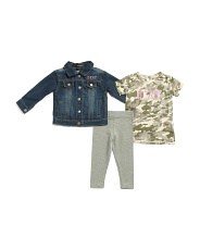 Toddler Girl 3pc Denim Jacket Tee & Legging Set