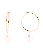 14k Gold Baroque Pearl 25mm Hoop Earrings