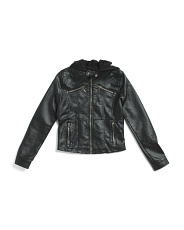 Big Girls Hooded Faux Leather Jacket
