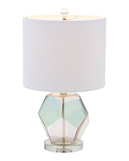 Pearlized Glass Geometric Accent Lamp With Crystal Base