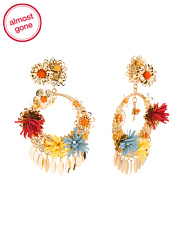 Gold Tone Floral Statement Earrings