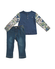 Toddler Boys Jersey Top And Denim Pants Set