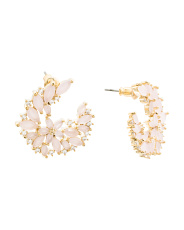 14k Gold Plated Floral Cz Studs
