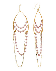 Gold Tone Beaded Chandelier Earrings
