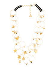 Gold Tone Textured Star And Hoop Necklace