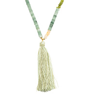 Jade Bead Adjustable Tassel Necklace