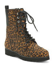 Haircalf Leopard Combat Boots