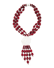 3 Strand Red Howlite Flower Fringe Necklace