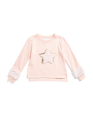 Big Girls Faux Fur Star Sweatshirt
