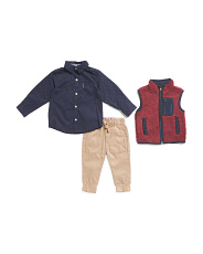 Infant Boys 3pc Sweater Vest And Jogger Set