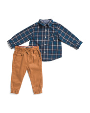 Infant Boys 2pc Woven Top And Joggers Set