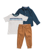 Infant Boys 3pc Shirt, Tee And Jogger Set